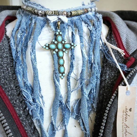 Jewelry - Up-cycled jean and turquoise cross choker